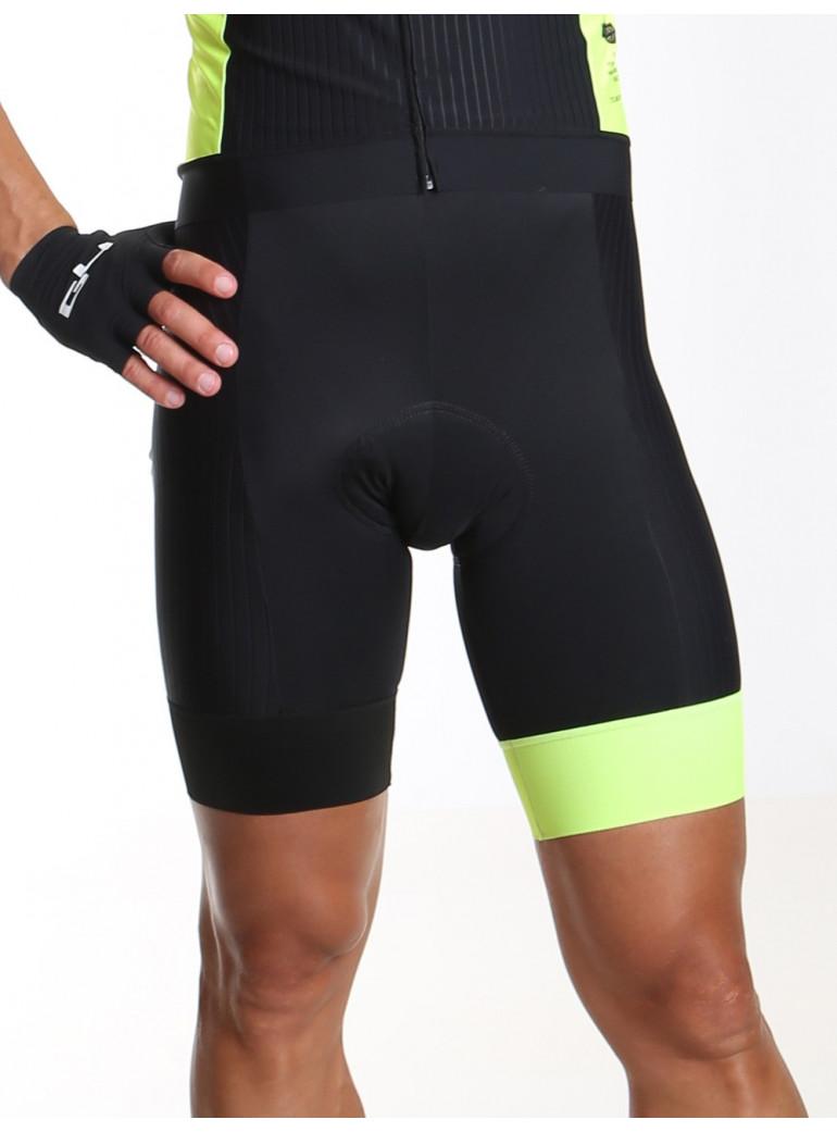 Men's cycling bib shorts black and yellow Distinguished