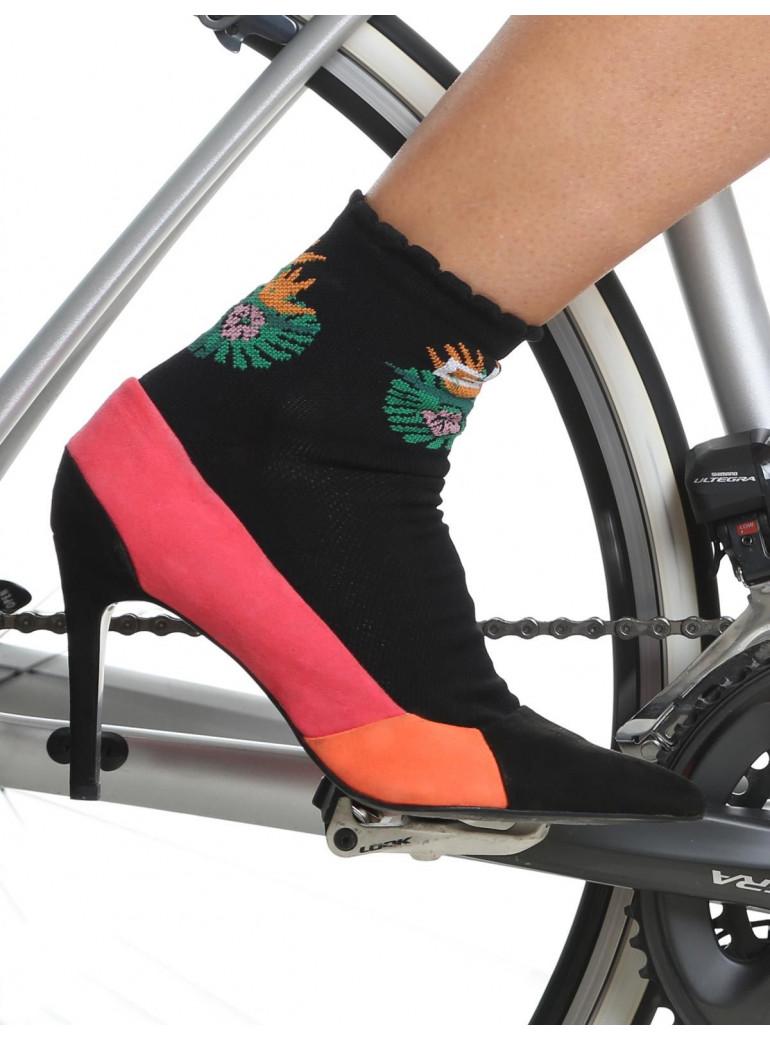 Chaussettes cyclisme femme noires Jungle