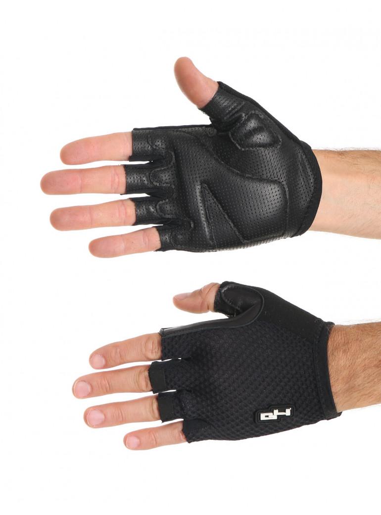 Summer leather black gloves
