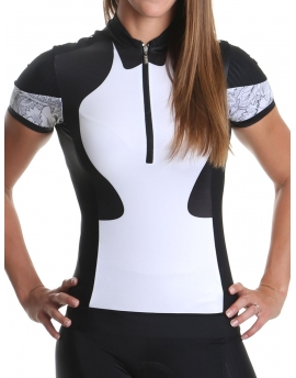 Women's cycling jersey white/black Distinguished