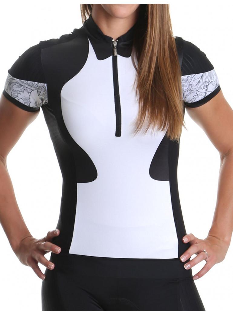 Maillot vélo femme noir/blanc Distinguished