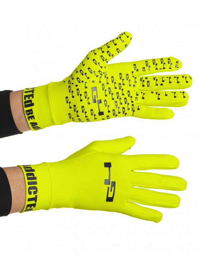 Gants cyclisme mi-saison jaunes fluos anti-glisse