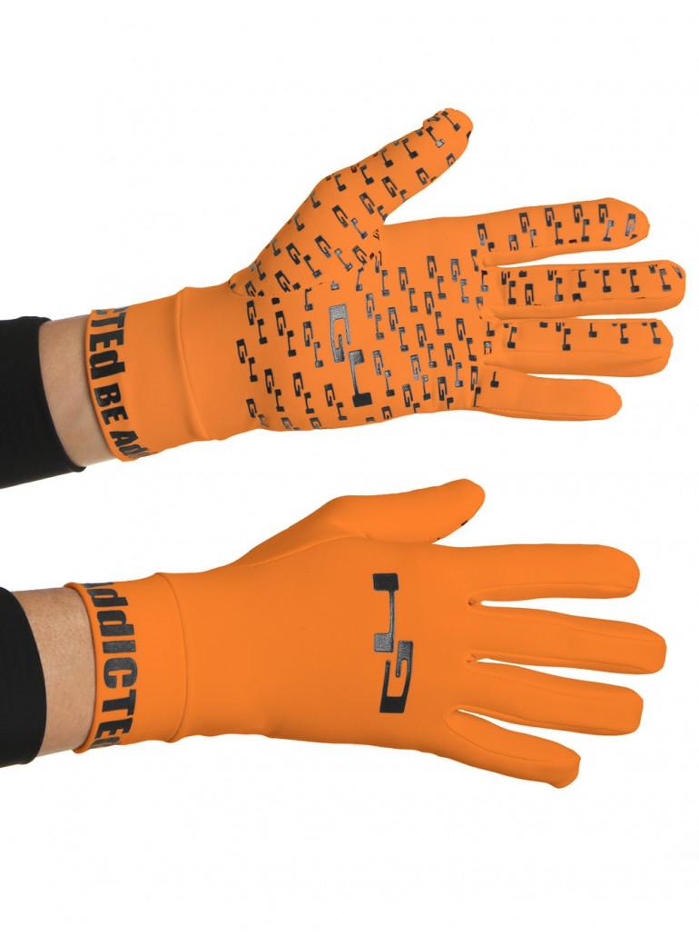 Gants cyclisme mi-saison oranges fluos anti-glisse