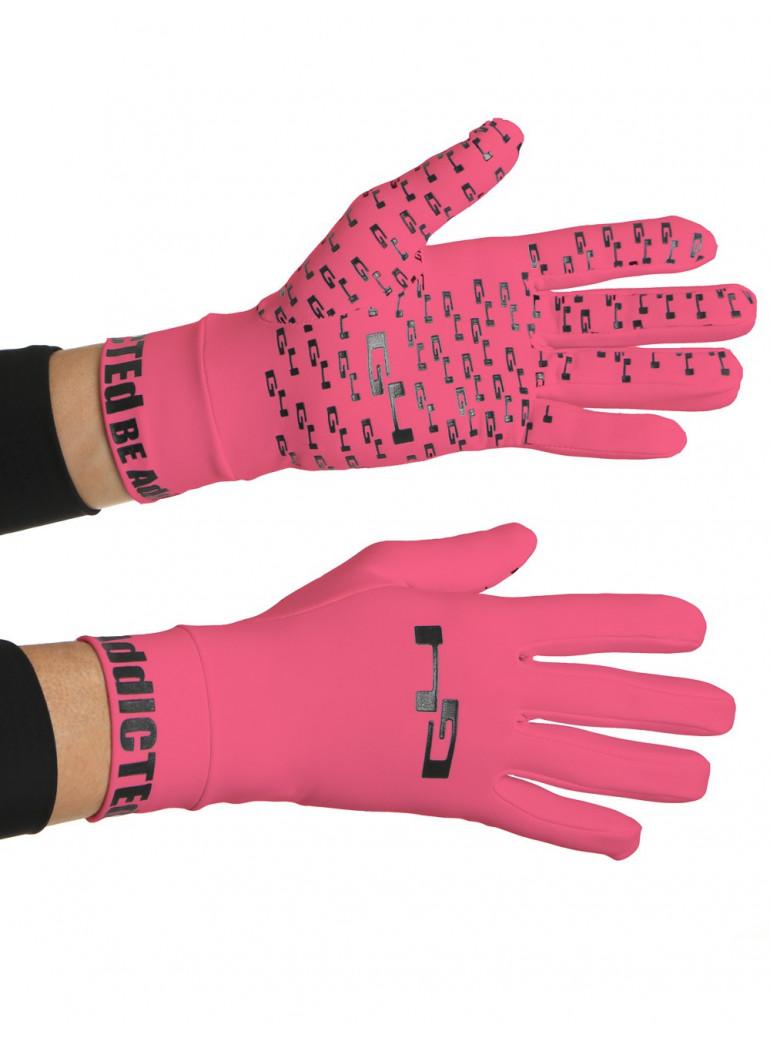 Gants cyclisme mi-saison roses fluos anti-glisse