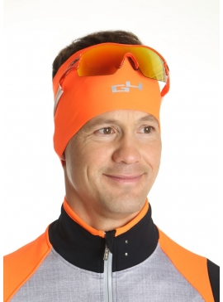 Bandeau cyclisme hiver orange fluo