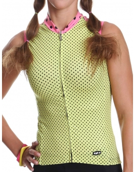 Women's sleeveless bike jersey yellow Simply