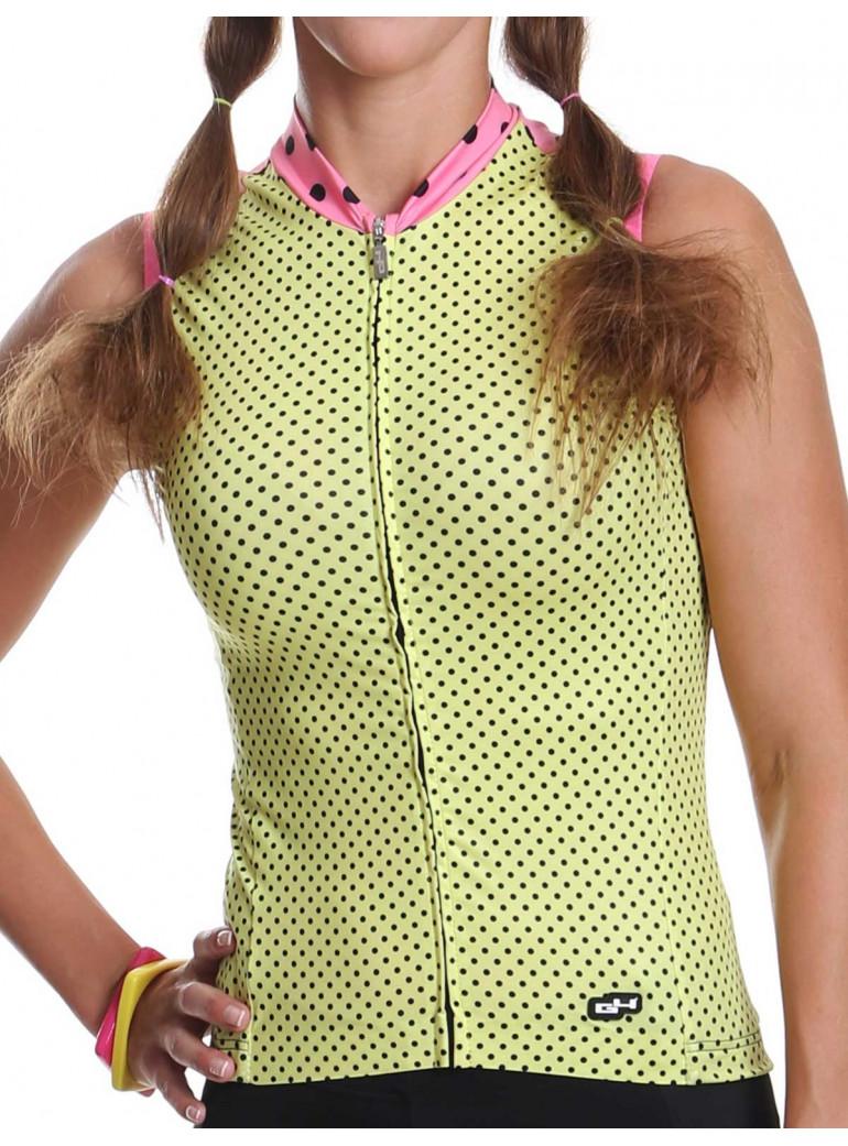 Maillot vélo femme sans manches jaune Simply