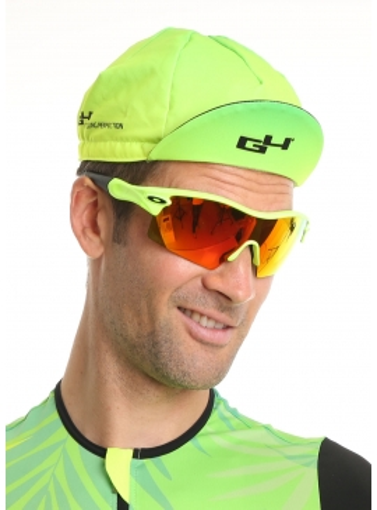 Casquette cyclisme jaune et verte