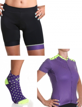 Cycling kit Simply in purple polka dots