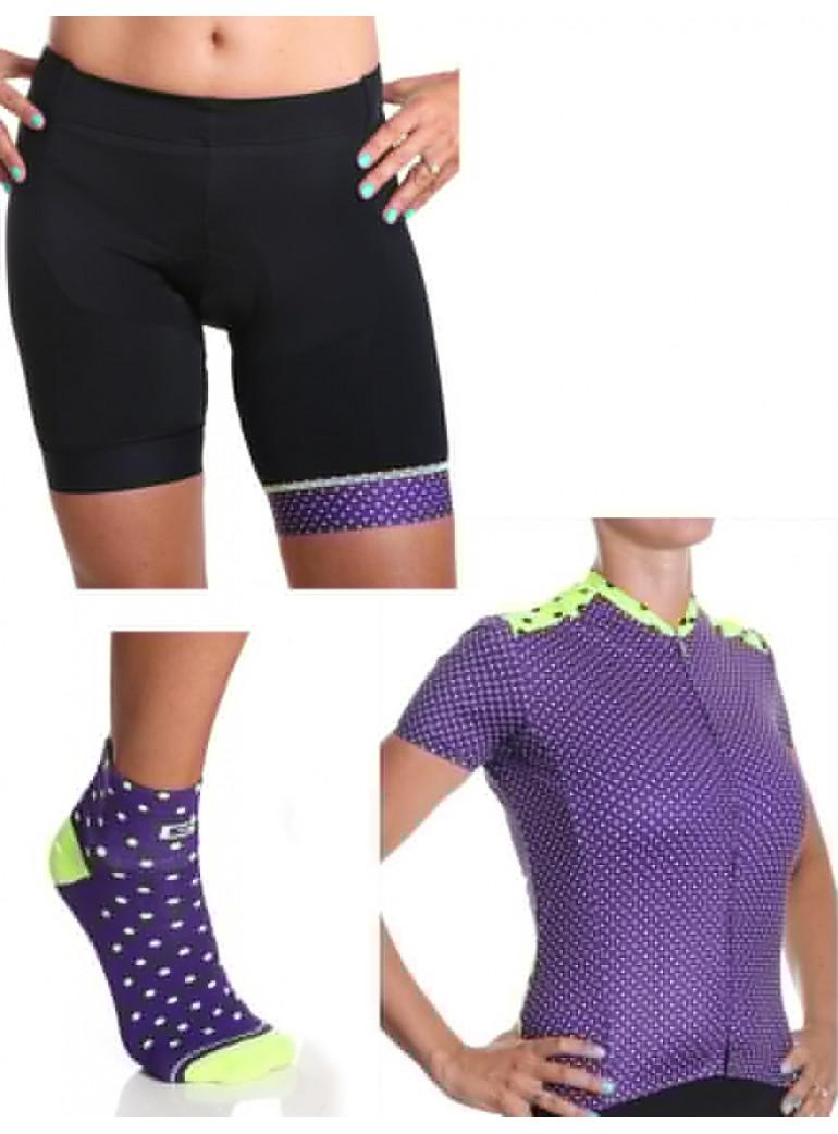 Tenue de cycliste femme fantaisie, violet à pois Simply Pack