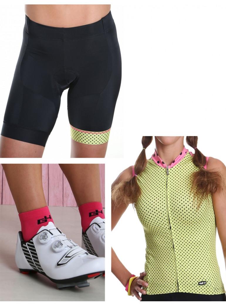 Tenue cycliste femme jaune à pois  Simply Pack