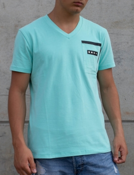 T-SHIRT TURQUOISE HOMMES