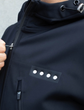 BLACK  SOFTSHELL JACKET WITH INSULATED HOOD