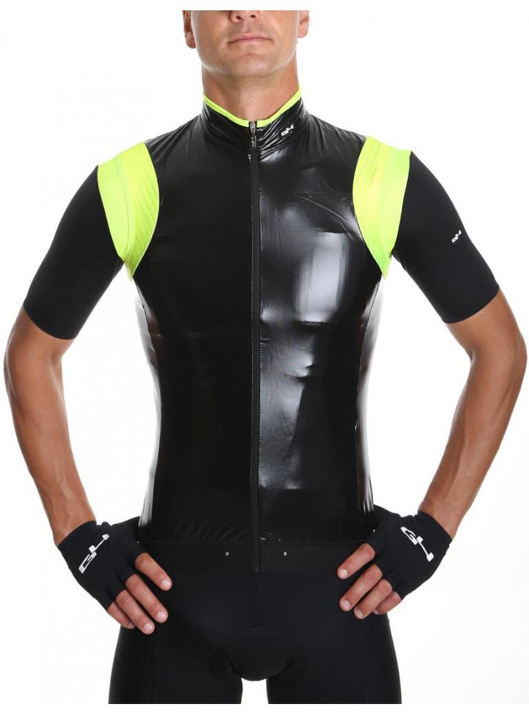 Coupe vent de pluie cyclisme noir et jaune fluo unisexe